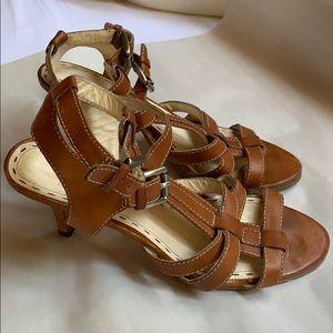 "Sz 8B 3"" heels Coach women's Flora tan shoes used"